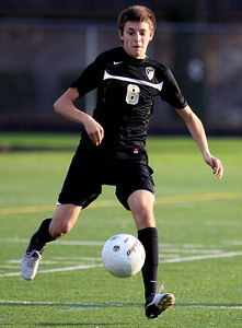 Sarah Nader - snader@shawmedia.com Grayslake North's Andreas Thedorf  kicks the ball down field during  the first half of Wednesday's Class 2A Grayslake Central Sectional Semifinal game against Harvard in Grayslake on October 24, 2012. Harvard won, 1-0.