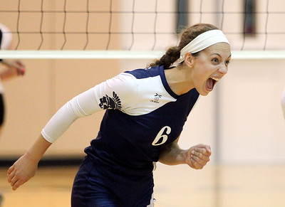 Mike Greene - mgreene@shawmedia.com Cary-Grove's Amy Jereb reacts after a point during a match against Jacobs Thursday, October 4, 2012 at Jacobs High School in Algonquin. Jacobs (16-5) defeated Cary-Grove (12-12) in straight sets 25-17, 25-23.