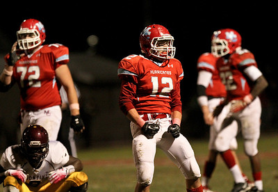 Josh Peckler - Jpeckler@shawmedia.com Marian Central's Greg Walczak celebrates making a tackle for a loss during the second quarter against Montini at Marian Central High School Friday, October 5, 2012. Marian Central won the game 49-24.