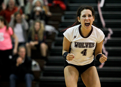 Josh Peckler - Jpeckler@shawmedia.com Prairie Ridge libero Paige Decanay celebrates match point after defeating Jacobs 2-1 at Jacobs High School Thursday, October 11, 2012.