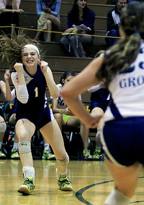 Sarah Nader - snader@shawmedia.com Cary-Grove's Meghan Seymour celebrates a point during Tuesday's Class 4A Crystal Lake South Regional volleyball tournament against Prairie Ridge on October 20, 2012 in Crystal Lake. Prairie Ridge won, 2-1.