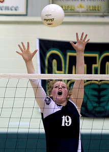 Sarah Nader - snader@shawmedia.com Cary-Grove's Mallory Wilczynski blocks a shot during Tuesday's Class 4A Crystal Lake South Regional volleyball tournament against Prairie Ridge on October 20, 2012 in Crystal Lake. Prairie Ridge won, 2-1