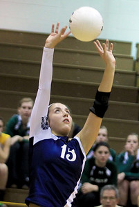 Sarah Nader - snader@shawmedia.com Cary-Grove's Jess Bartczyszyn sets the ball during Tuesday's Class 4A Crystal Lake South Regional volleyball tournament against Prairie Ridge on October 20, 2012 in Crystal Lake. Prairie Ridge won, 2-1.