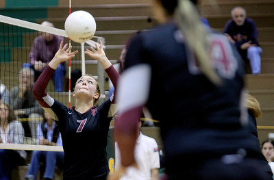 Sarah Nader - snader@shawmedia.com Prairie Ridge's Liz Dominski sets the ball during Thursday's  Class 4A Crystal Lake South Regional volleyball tournament final against Crystal Lake South in Crystal Lake on Thursday, October 25, 2012. Prairie Ridge won, 2-1.