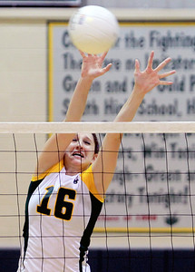 Sarah Nader - snader@shawmedia.com Crystal Lake South's Carly Nolan blocks the ball duringThursday's Class 4A Crystal Lake South Regional volleyball tournament final against Prairie Ridge in Crystal Lake on Thursday, October 25, 2012. Prairie Ridge won, 2-1.