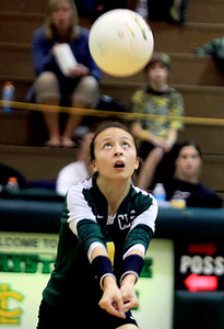 Sarah Nader - snader@shawmedia.com Crystal Lake South's Katie Meyers returns a serve during Thursday's Class 4A Crystal Lake South Regional volleyball tournament final against Prairie Ridge  in Crystal Lake on October 25, 2012. Prairie Ridge won, 2-1.