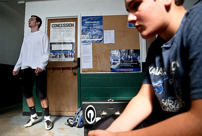 Josh Peckler - Jpeckler@shawmedia.com Alden-Hebron's Chip McKay (left) mentally prepares himself  before playing Marquette Academy at Alden-Hebron High School Saturday, September 29, 2012.