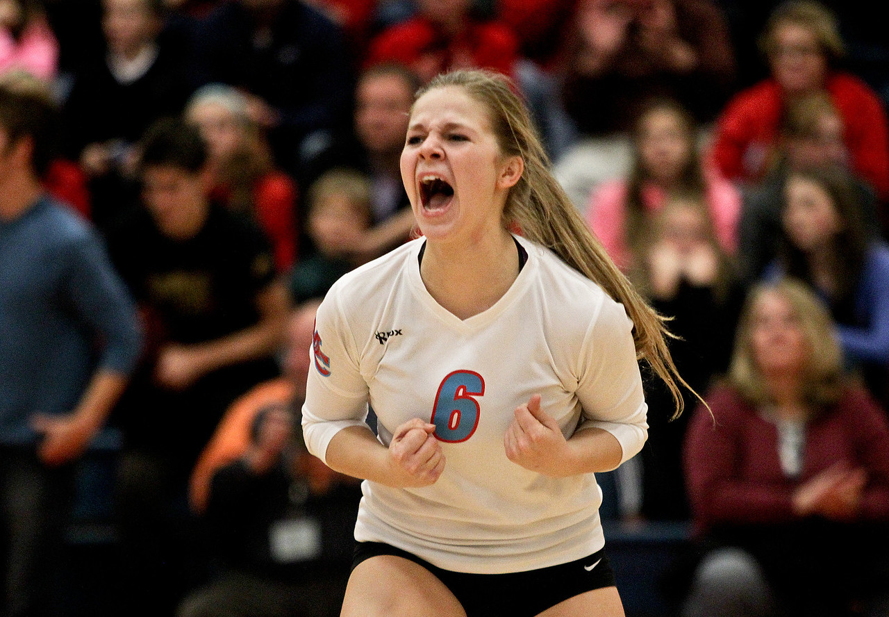 Josh Peckler - Jpeckler@shawmedia.com Marian Central's Bethany Bucci celebrates defeating Grayslake Central during a sectional semi-final game at Marian Central High School Tuesday, October 30, 2012.