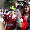 Colin Zimmers honks his clown nose during the Lincoln Elementary School Halloween costume parade around the school Wednesday afternoon.(Sandy Bressner photo)