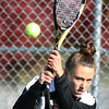 Jeff Krage – For the Kane County Chronicle<br /> Batavia's Jenny Mizikar hits a return Saturday during the UEC #1 doubles championship at Elgin High School.<br /> Elgin 10/5/12
