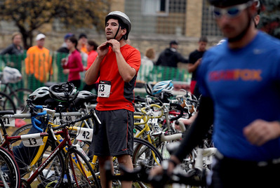 Sarah Nader - snader@shawmedia.com Jon Kabance of Chicago straps on his helmet while competing in the fourth annual Run and Roll for the Dole in Crystal Lake on Sunday, October 14, 2012. The race featured a 2 mile run through Crystal Lake, 20k bike course and a repeat of the 2 mile to the finish line. All proceeds from the race will benefit Lakeside Legacy Foundation and Historic Dole Mansion.