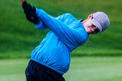 Kyle Grillot - kgrillot@shawmedia.com   Prairie Ridge's Ethan Farnam tees off on the seventh hole during the Fox Valley Conference boys golf tournament at Golf Club of Illinois Thursday, October 3, 2013.