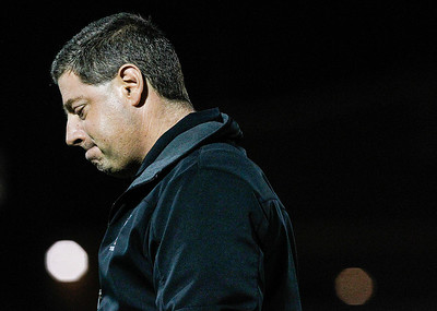 Kyle Grillot - kgrillot@shawmedia.com   Crystal Lake Central's head coach Matt Fralick reacts after an inadvertent whistle call on a play that would have scored the Tigers a touchdown dying the fourth quarter of the game against Grayslake North Friday, October 4, 2013.