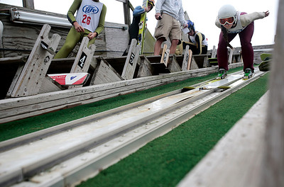 Kyle Grillot - kgrillot@shawmedia.com   Sabina Gasienica takes off down the slope during the 28th annual Autumn Ski Jump competition Sunday at the Norge Ski Club in Fox River Grove.