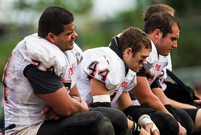 Kyle Grillot - kgrillot@shawmedia.com   The McHenry bench during the fourth quarter of the high school football game against McHenry Saturday, October 5, 2013.