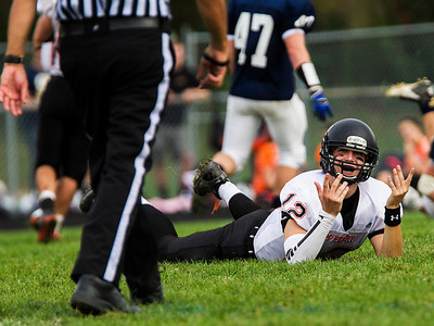 Kyle Grillot - kgrillot@shawmedia.com   McHenry junior Mike Briscoe pleas with a referee after being thrown to the ball without having the ball during the third quarter of the high school football game against Cary Grove Saturday, October 5, 2013. A personal foul was called on Cary-Grove.