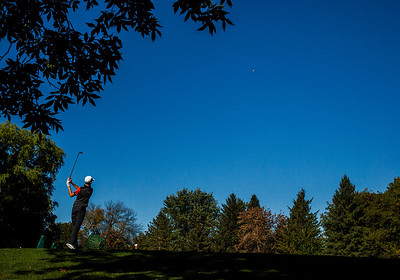 Kyle Grillot - kgrillot@shawmedia.com   Crystal Lake Central's Paul Schlimm warms up before teeing off at the Woodstock North Class 3A regional boys golf tournament at Plum Tree National Golf Club Tuesday, October 8, 2013.