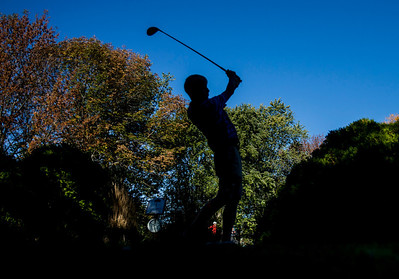 Kyle Grillot - kgrillot@shawmedia.com   Rockton Hononegah's Adam Norwood tees off on the first hole during the Woodstock North Class 3A regional boys golf tournament at Plum Tree National Golf Club Tuesday, October 8, 2013.