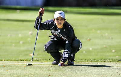 Sarah Nader- snader@shawmedia.com Barrington's Shivani Majmudar prepares to putt on the fifth hole during the Class AA Prairie Ridge Girls Golf Regional in Crystal Lake Wedensday, October 9, 2013.