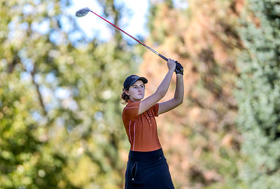 Sarah Nader- snader@shawmedia.com St. Charles East's Darby Crane tees off on the sixth hole during the Class AA Prairie Ridge Girls Golf Regional in Crystal Lake Wedensday, October 9, 2013.