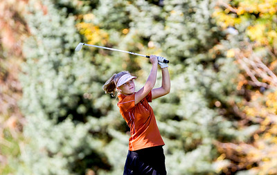 Sarah Nader- snader@shawmedia.com St. Charles East's Reagan Stanton tees off on the sixth hole during the Class AA Prairie Ridge Girls Golf Regional in Crystal Lake Wedensday, October 9, 2013.