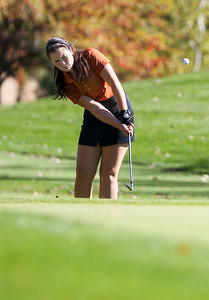 Sarah Nader- snader@shawmedia.com St Charles East's Mary EEllen Combs during the Class AA Prairie Ridge Girls Golf Regional in Crystal Lake Wedensday, October 9, 2013.