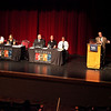 Mike Moran (far right), executive director of Breaking Free, addresses the audience during a panel presentation about heroin abuse, prevention and community resources at the Batavia Fine Arts Centre Thursday evening.