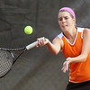 Jeff Krage – For Shaw Media<br /> St. Charles East's Jaci Spoerl hits a return during Saturday's Upstate Eight Conference tournament at Geneva High School.<br /> Geneva 10/12/13