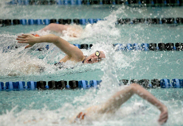St. Charles North's Loriel Hutchinson competes in the 50-yard freestyle during their dual meet against St. Charles East Thursday.