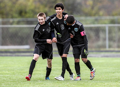 Sarah Nader- snader@shawmedia.com Woodstock North's Josh Jandron (left) Victor Ortiz and Julio Campos celebrate a goal Ortiz made during the first half of Wednesday's Class 2A Marian Regional semifinal against Woodstock October 23, 2013. Woodstock North won, 5-0.