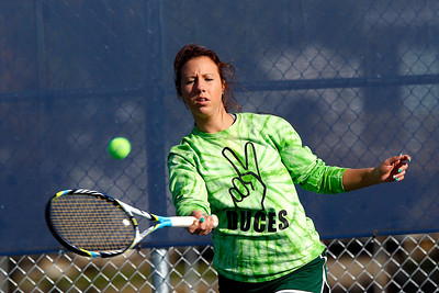 Kyle Grillot - kgrillot@shawmedia.com   Crystal Lake South senior Rachel Rasmussen returns the ball during their match against Moline on the first day of the girls tennis state tournament Thursday, October 24, 2013.