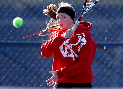 Kyle Grillot - kgrillot@shawmedia.com   Barrington senior Anna Donoghue returns the ball during the match against Alleman juniors Sarah Van Hoe and Lauren Hogan during the first day of the girls tennis state tournament Thursday, October 24, 2013.