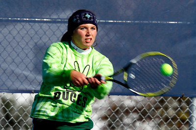 Kyle Grillot - kgrillot@shawmedia.com   Crystal Lake South senior Kelsey Laktash returns the ball during their match against Moline on the first day of the girls tennis state tournament Thursday, October 24, 2013.