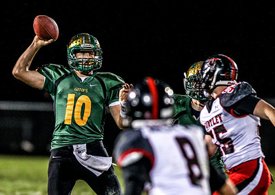 Sarah Nader- snader@shawmedia.com Crystal Lake South's quarterback Austin Rogers throws a pass during the second quarter of Friday's football game against Huntley in Crystal Lake October 25, 2013. Crystal Lake South defeated Huntley, 27-7.