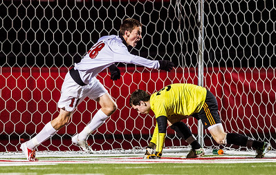 Kyle Grillot - kgrillot@shawmedia.com   Barrington senior Jonathan Wilson celebrates after scoring a goal during the first half of the boys regional final match between Barrington and Libertyville Saturday, October 26, 2013. Barrington won the match 2-0.
