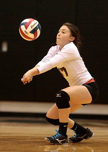 Kyle Grillot - kgrillot@shawmedia.com  Woodstock senior Georgia Wicker, bumps the ball during the first game of the regional quarterfinal match between Woodstock North and Woodstock. Woodstock won the match.