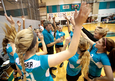 Kyle Grillot - kgrillot@shawmedia.com  The Woodstock North Cheers with head coach Greg Bruns before the start of the regional quarterfinal match between Woodstock North and Woodstock. Woodstock won the match.
