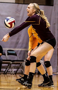 Kyle Grillot - kgrillot@shawmedia.com   Richmond-Burton senior Alexandra Frantti bumps the ball during the first game of the regional semifinal match between Richmond-Burton and Marian Central. Marian Central won the match in three games.