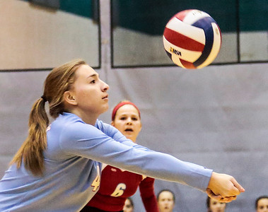 Kyle Grillot - kgrillot@shawmedia.com   Marian Central junior Katherine Adams bumps the ball during during the first game of the regional semifinal match between Richmond-Burton and Marian Central. Marian Central won the match in three games.