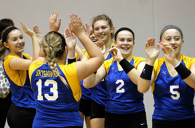 Kyle Grillot - kgrillot@shawmedia.com   The Johnsburg team celebrates after beating Woodstock in the regional semifinal match.