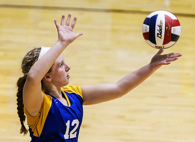 Kyle Grillot - kgrillot@shawmedia.com   Johnsburg sophomore Abby Majercik serves the ball during the first game of the regional semifinal match between Johnsburg and Woodstock. Johnsburg won the match in two games.