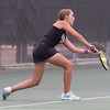 St. Charles East's Kelsey Straumann returns a shot in number two singles action against Batavia at Batavia High School in Batavia, IL on Thursday, October 02, 2014 (Sean King for Shaw Media)