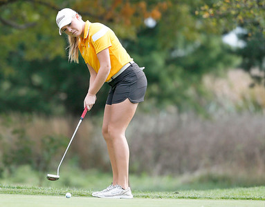 John Konstantaras - For Shaw Media Richmond-Burton's Mackenzie Hahn putts onto the second green during the Johnsburg Girls Golf Regional at Boone Creek Golf Club on Wednesday, October 5, 2016 in Bull Valley, Ill.