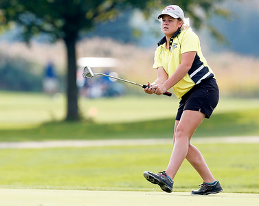 John Konstantaras - For Shaw Media Johnsburg's Lauren Winter watches a putt during the Johnsburg Girls Golf Regional at Boone Creek Golf Club on Wednesday, October 5, 2016 in Bull Valley, Ill.