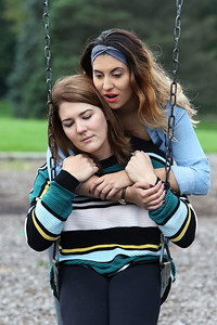 "Candace H. Johnson-For Shaw Media Actress Jessica Trznadel, of Westchester shoots an emotional scene with Abbey Bobzin, of Kenosha, Wis., for the horror movie, ""Tread This Fantasy,"" in the playground at Caboose Park in Lake Villa."