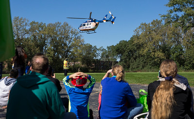 Mike Greene - For Shaw Media  The Flight for Life helicopter takes off during the Crystal Lake Fire Rescue Open House Saturday, October 8, 2016 at Crystal Lake Fire Rescue Station 1 in Crystal Lake. The annual event featured station tours, fire extinguisher demos, hands only CPR, Flight for Life helicopter tours as well as gear demos, sonar rescue and dive rescue demos, and kid's obstacle courses.
