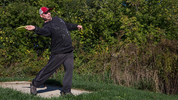 Mike Greene - For Shaw Media  Frank Thormodson, of Chicago, goes with a flick shot off the tee during the 5th Annual Disc Golf Tournament Saturday, October 8, 2016 at Linda K. Fischer Park in Lake in the Hills. The event featured beginner and amateur divisions with top 2 team finishers being awarded prizes.