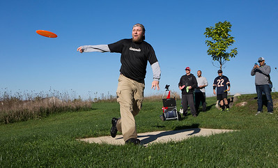 Mike Greene - For Shaw Media  Michael Kutella, of Huntley, tees off during the 5th Annual Disc Golf Tournament Saturday, October 8, 2016 at Linda K. Fischer Park in Lake in the Hills. The event featured beginner and amateur divisions with top 2 team finishers being awarded prizes.