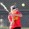 Batavia's Julianne Robinson hits a return while playing for third place in No. 1 singles during the UEC tournament at St. Charles East on Oct. 8.