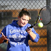 Geneva's Taylor Hayes hits a return while playing for third place in No. 2 singles  during the UEC tournament at St. Charles East on Oct. 8.
